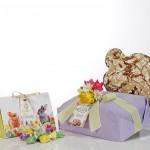 Confezione regalo pasquale con colomba e ovetti senza glutine